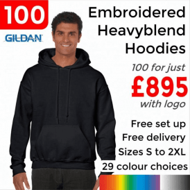 100 x Embroidered HeavyBlend adult hooded sweatshirt £895