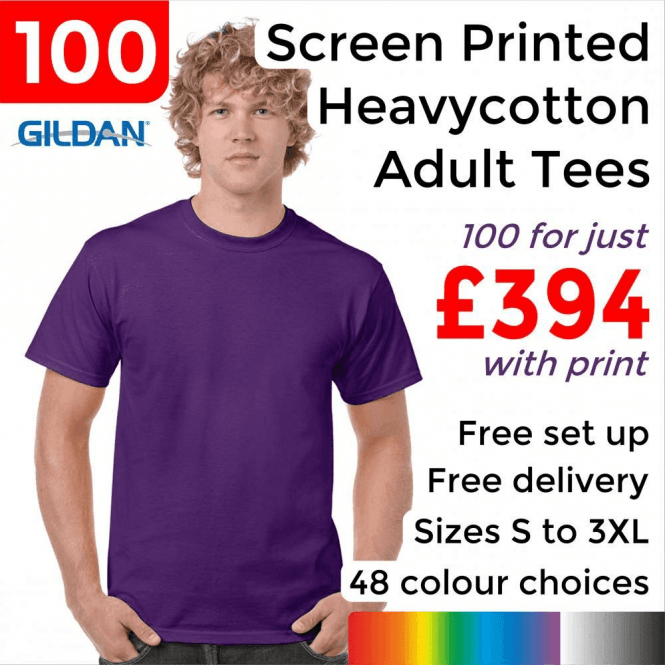 Gildan 100 x Screen Printed Heavy cotton adult t-shirt £394