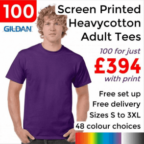 100 x Screen Printed Heavy cotton adult t-shirt £394