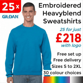 25 x Embroidered Heavy blend adult crew neck sweatshirt £218