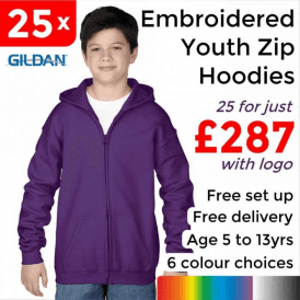 25 x Embroidered Heavy Blend youth full zip hooded sweatshirt £287