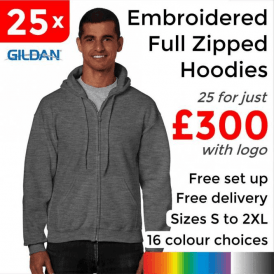 25 x Embroidered HeavyBlend adult full zip hooded sweatshirt £300