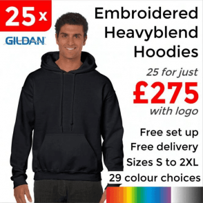 25 x Embroidered HeavyBlend adult hooded sweatshirt £275