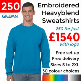 250 x Embroidered Heavy blend adult crew neck sweatshirt £1540