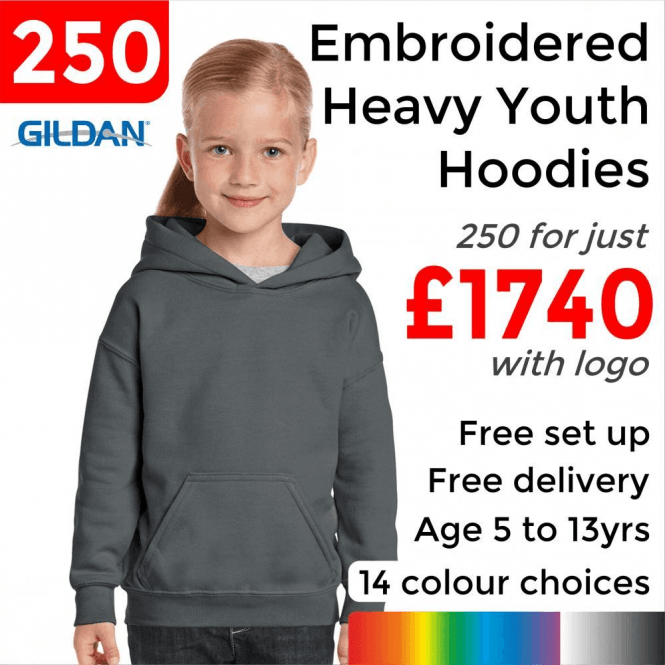 Gildan 250 x Embroidered Heavy Blend youth hooded sweatshirt £1740