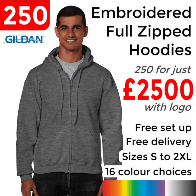 Gildan 250 x Embroidered HeavyBlend adult full zip hooded sweatshirt £2500