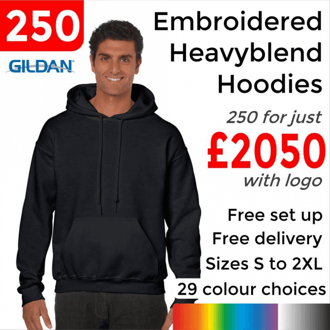 Gildan 250 x Embroidered HeavyBlend adult hooded sweatshirt £2050