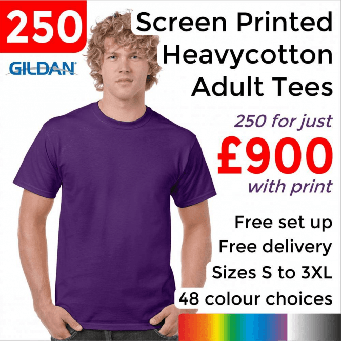 Gildan 250 x Screen Printed Heavy cotton adult t-shirt £900