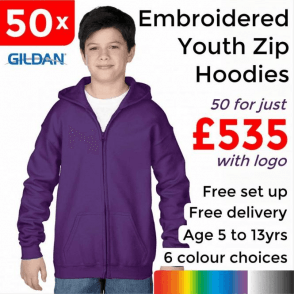 50 x Embroidered Heavy Blend youth full zip hooded sweatshirt £535
