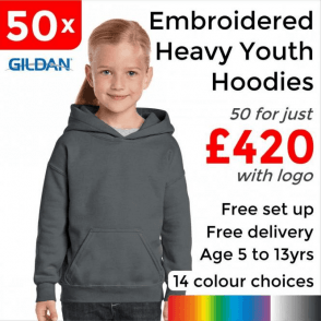 50 x Embroidered Heavy Blend youth hooded sweatshirt £420