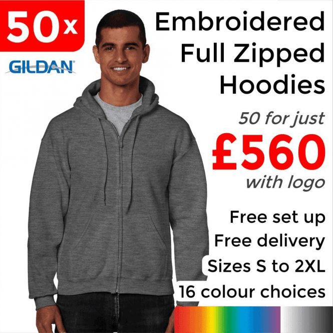Gildan 50 x Embroidered HeavyBlend adult full zip hooded sweatshirt £560