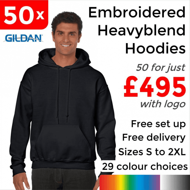 Gildan 50 x Embroidered HeavyBlend adult hooded sweatshirt £495