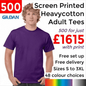 500 x Screen Printed Heavy cotton adult t-shirt £1615