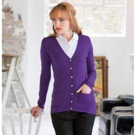 Henbury Women's v-button cardigan