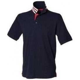Henbury Stripe collar polo