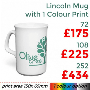 Lincoln Earthenware Mug With Single Colour Print