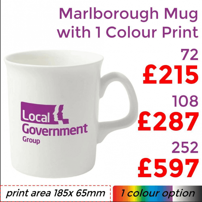 Marlborough Bone China Mug With Single Colour Print
