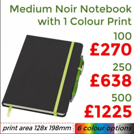 Medium Noir Notebook With Single Colour Print