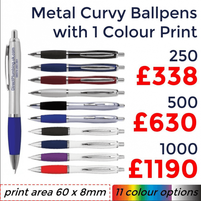 Metal Curvy Ballpen With Single Colour Print