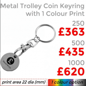 Metal Trolley Coin Keyring With Single Colour Print