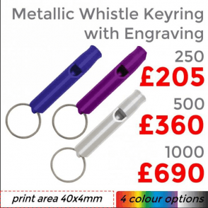 Metallic Whistle Keyring With Engraving