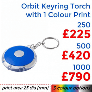 Orbit Keyring Torch With Single Colour Print