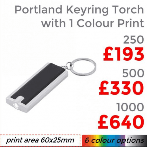 Portland Keyring Torch Single Colour Print