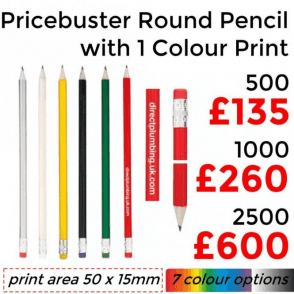 Pricebuster Round Pencil With Single Colour Print
