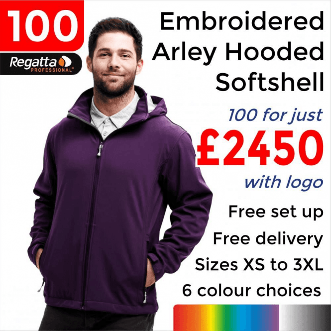Regatta 100 x Embroidered Arley Hooded Softshell Jackets £2450