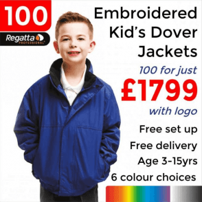 100 x Embroidered Regatta Kids dover Jackets £1799
