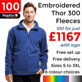 100 x Embroidered Regatta Thor 300 Fleece £1167