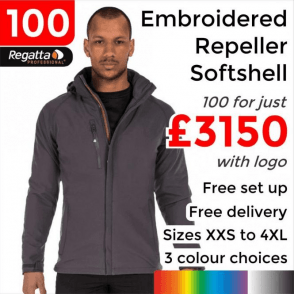 100 x Embroidered X-Pro Repeller softshell £3150