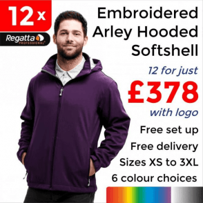 12 x Embroidered Arley Hooded Softshell Jackets £378