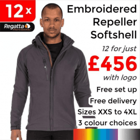 12 x Embroidered X-Pro Repeller softshell £456