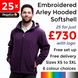 25 x Embroidered Arley Hooded Softshell Jackets £730