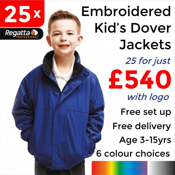 Regatta 25 x Embroidered Regatta Kids dover Jackets £540