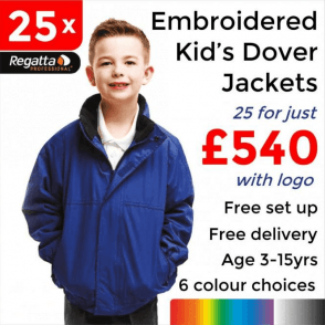 25 x Embroidered Regatta Kids dover Jackets £540