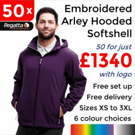 50 x Embroidered Arley Hooded Softshell Jackets £1340