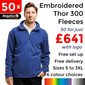 50 x Embroidered Regatta Thor 300 Fleece £641