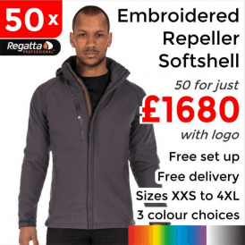 50 x Embroidered X-Pro Repeller softshell £1680
