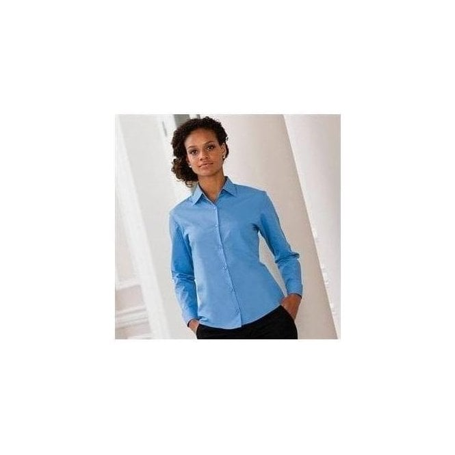 Russell Women's long sleeve poly cotton Easycare poplin shirt