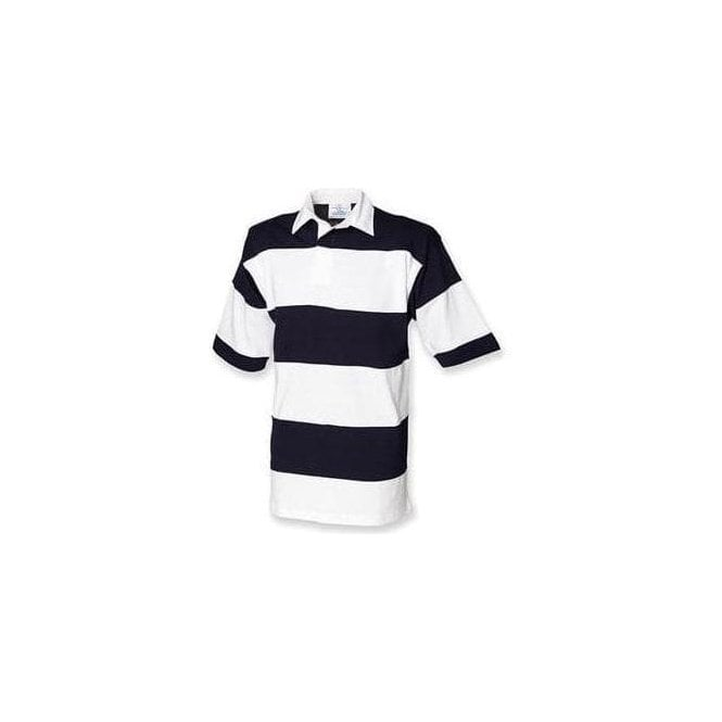 Front Row Sewn stripe short sleeve rugby shirt