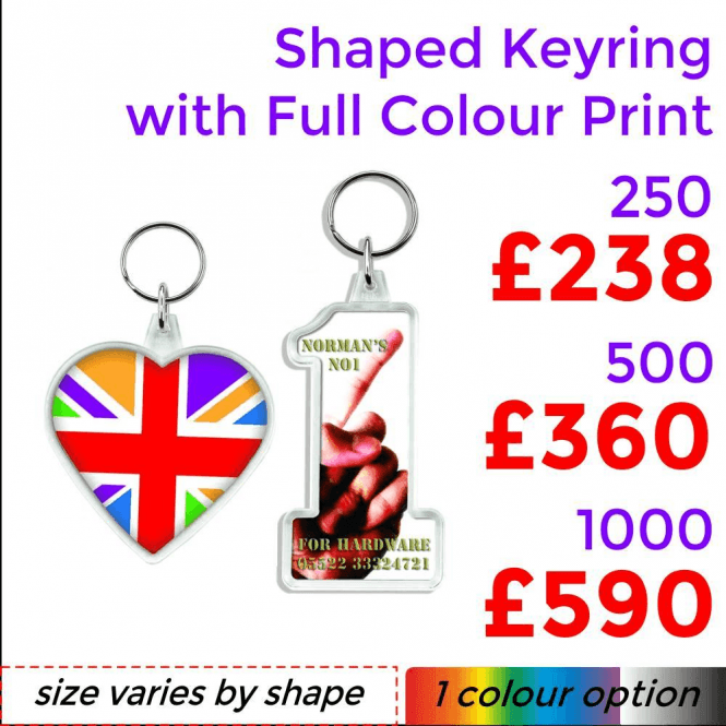 Shaped Keyrings With Full Colour Print
