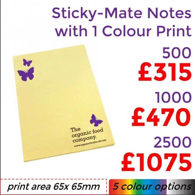 Sticky-Mate Notes 4 With Single Colour Print