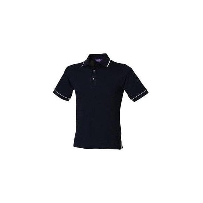 Henbury Tipped collar and cuff polo with stand up collar