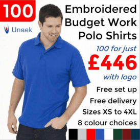 100 x Embroidered Budget Polo Shirts £446