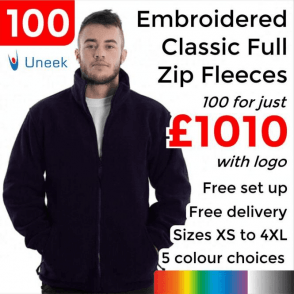 100 x Embroidered Classic Full Zip Fleece Jacket £1010
