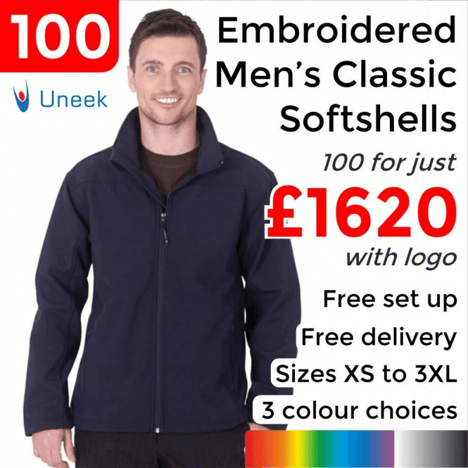 Uneek 100 x Embroidered Classic Full Zip Soft Shell Jackets £1620