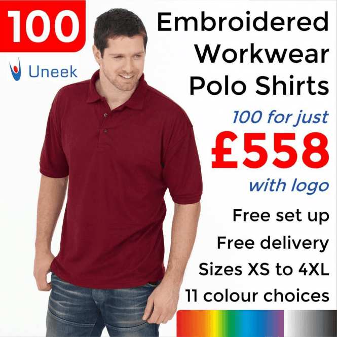 Uneek 100 x Embroidered Essential Poloshirt £558