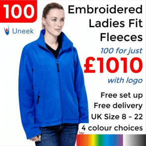 100 x Embroidered Ladies Classic Full Zip Fleece Jacket £1010